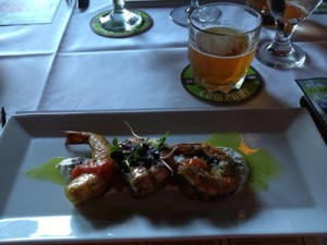 Jumbo Shrimp marinated in Double IPA served with Indian yogurt sauce, paired with Double IPA
