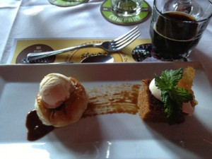 Caramelized Peach Tarte Tatin with Fat Dog Balsamic Reduction and Black Pepper Ice Cream, paired with Fat Dog Stout