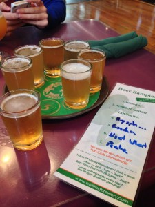 A full sampler of light beer